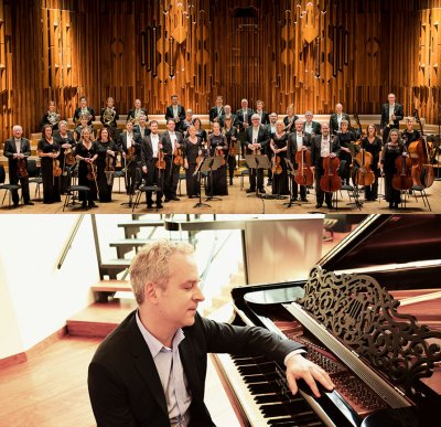 Academy of St. Martin in Fields Orchestra standing in arrangement and Jeremy Denk sitting at piano