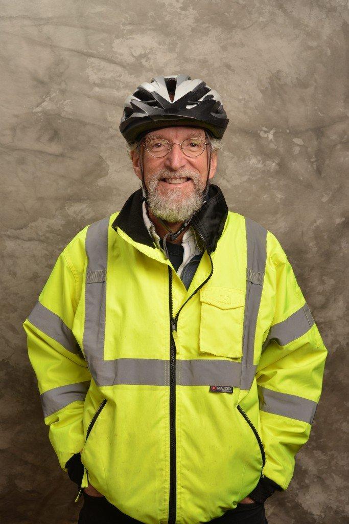 Head shot of Les Gufstafson Zook in his bike gear