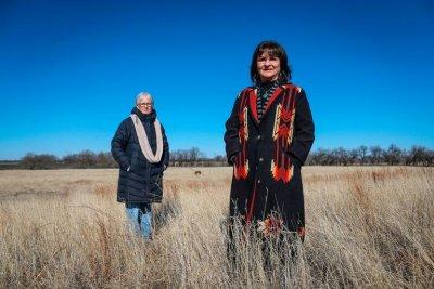 Two women in a field