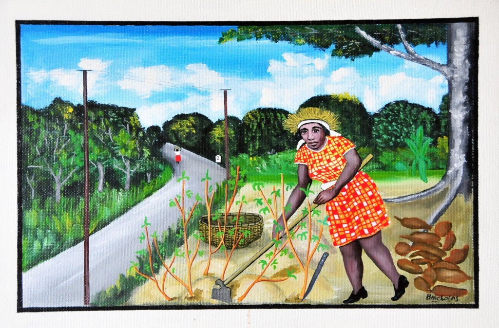 Painting of an African American woman hoeing in the garden by the vacant road