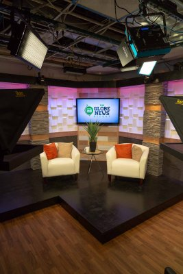 The newly-renovated Globe TV studio.