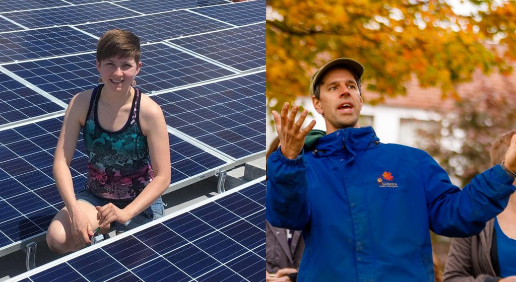 Leah Thill sitting on Solar Panels and Aaron Sawatsky-Kingsley speaking