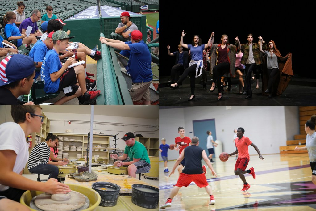 Four way split scree. Baseball field, pottery lab, basketball game in a gymnasium, and a production on stage