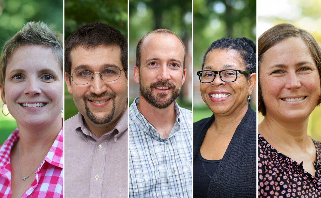 Five pictures of faculty. Two men and three women