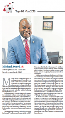 Top 40 Mean 2018 article. Micheal Awori, 38, Lending Executive Trade and Development Bank (TDB)