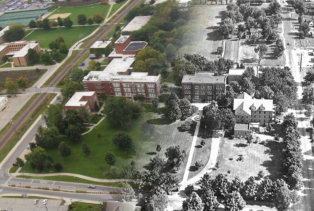Airplane view photo of Goshen College. Half the photo is in color and the other half is in black and white