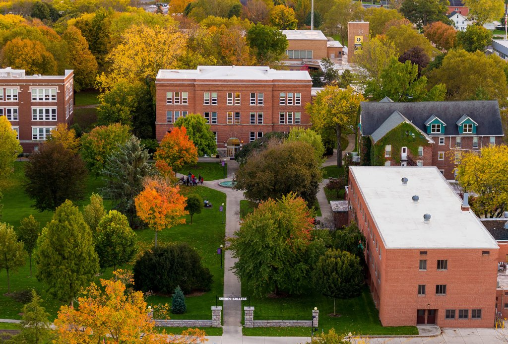 Airplane view of Goshen College