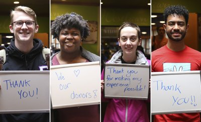 Photo composite of four people holding whiteboards. Thw two outside photos are male while the two inside photos are female. The whiteboards read 'thank you! We love our donors! Thank you for making my experience possible! Thank you!!'