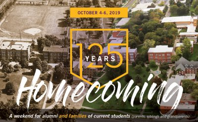 125 years Homecoming poster. Half of the photo is a sepia colored photo with only two buildings. The other half of the photograph is in color with man more buildings in the photo