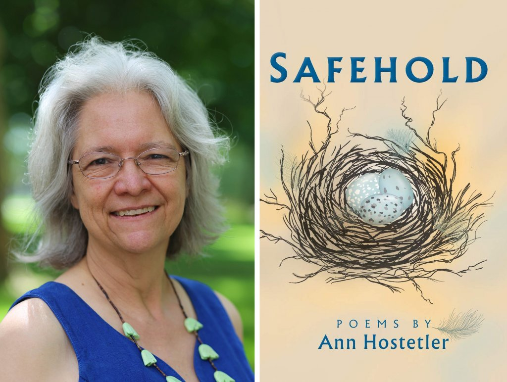 Ann Hostetler Headshot next to Safehold Poems by Ann Hostetler book cover