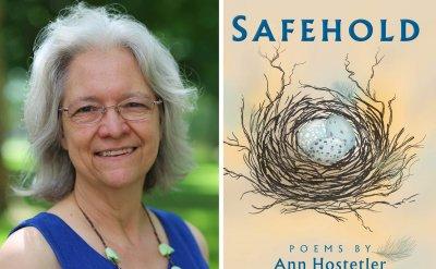 Ann Hostetler Headshot next to Safehold Poems by Ann Hostetler book cover