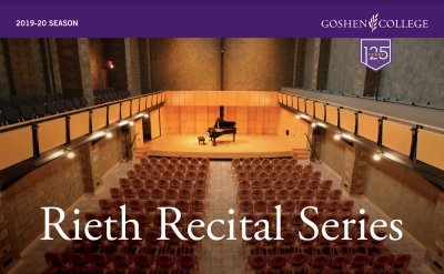 Rieth Recital Series poster. Photograph of a concert hall with a piano on stage