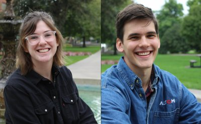Abby King and Gabe Miller split screen headshots