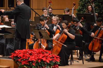 Cellists on stage with red flowers in the foreground