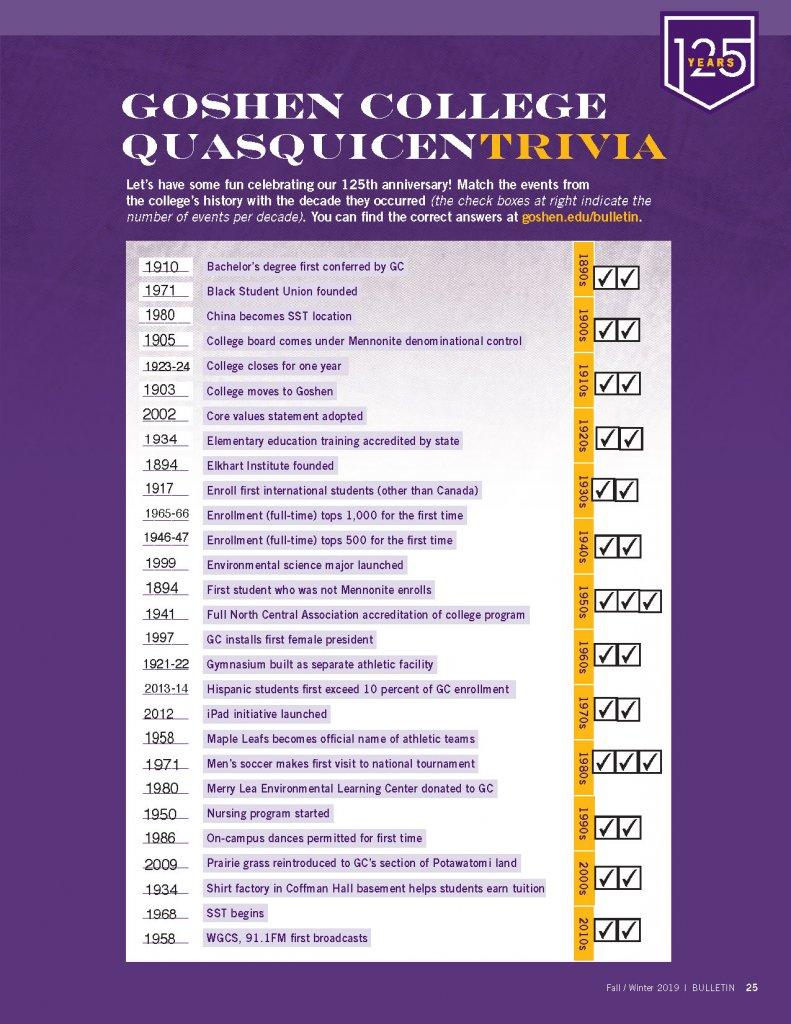 Goshen College Quasquicen Trivia