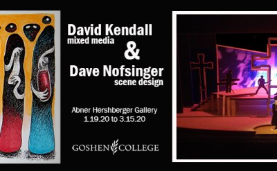 Abner Hershberger Gallery Poster 'David Kendall Mixed Media & Dave Nofsinger Scene Design Abner Hershberger Gallery 1.19.20-3.15.20'