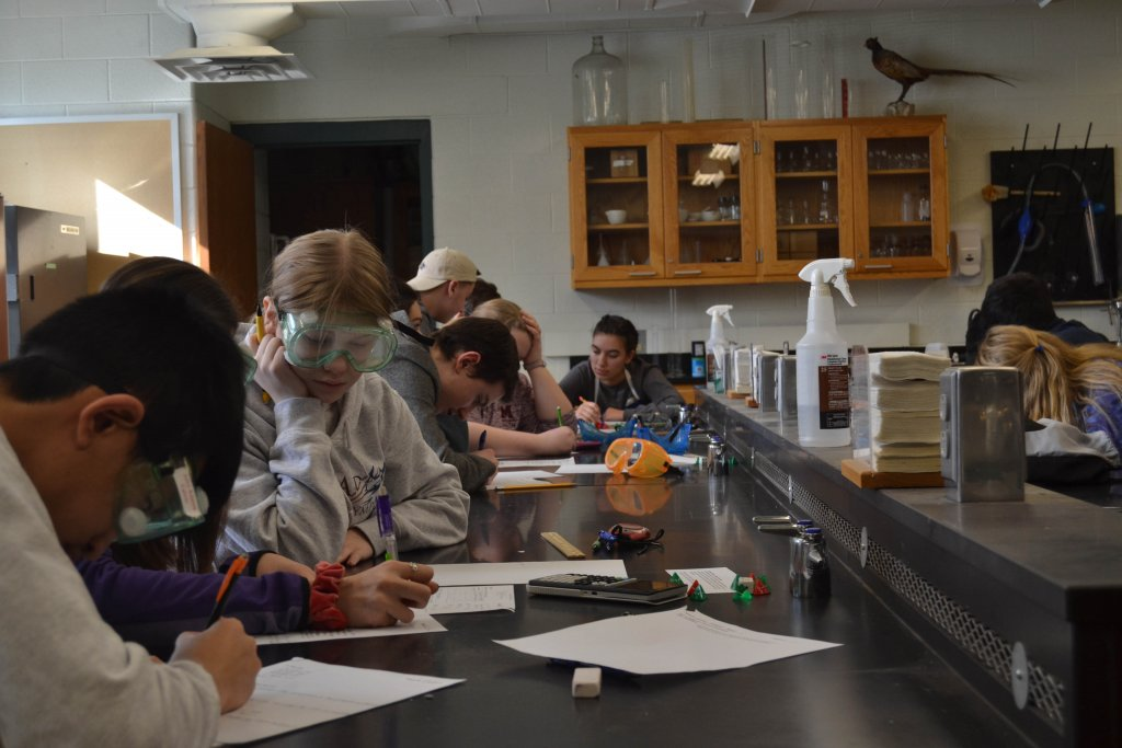 Several students working on assignments in a science classroom