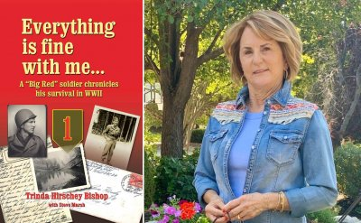 Split screen between poster and headshot of Trinda Hirchey Bishop. Poster reads 'Everything is fine with me... A