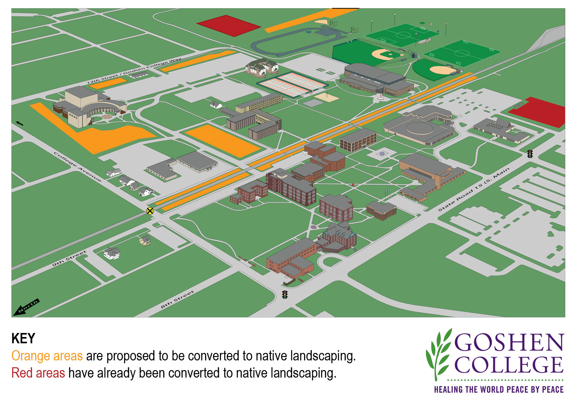 goshen college campus map Campus Map Native Plantings Sustainability Goshen College goshen college campus map