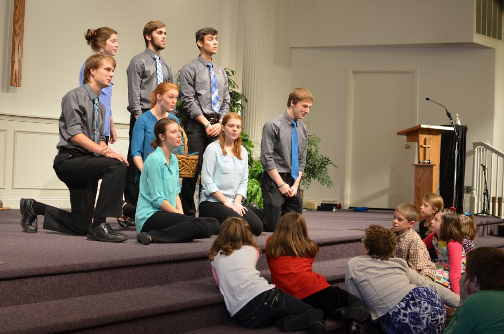 Parables leading worship at Waterford Mennonite Church in Goshen, Indiana