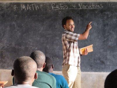 Evan Grimes teaches class at Nyarero school on SST