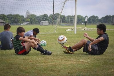 Soccer players at Goshen College summer soccer camp